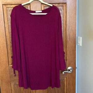 Magenta Soft & Stretchy Tie Bell Sleeve Top NWOT